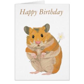 Niedlicher Hamster mit Blume Karte