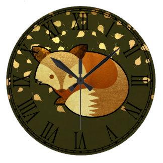 Niedlicher HerbstFox Große Wanduhr