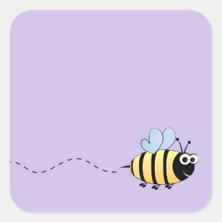 Niedlicher Hummelbienen-Cartoon Quadratischer Aufkleber