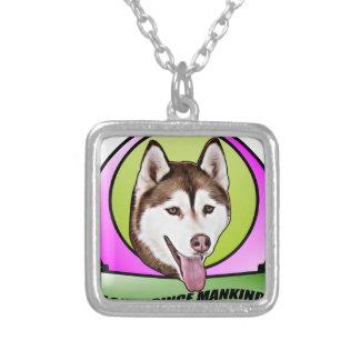 Niedlicher Hund des sibirischen Schlittenhunds Versilberte Kette