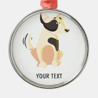 niedlicher Hund Rundes Silberfarbenes Ornament