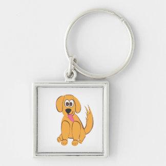 Niedlicher Hund! Silberfarbener Quadratischer Schlüsselanhänger