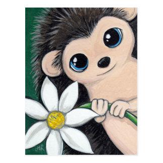 Niedlicher Igel, der Blumen-Postkarte hält Postkarten