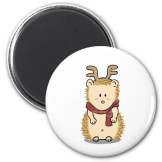 Niedlicher Igel mit Ren-Haarband Magneten Runder Magnet 5,1 Cm