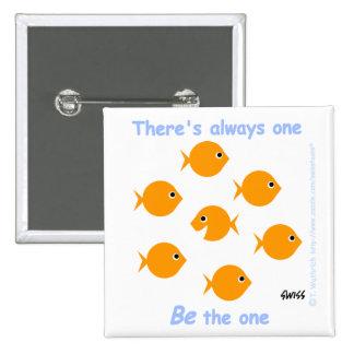 Niedlicher Inspirational Goldfish-Knopf Quadratischer Button 5,1 Cm