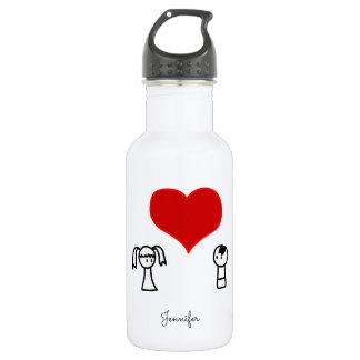 Niedlicher Junge und Mädchen im Liebegekritzel Trinkflasche