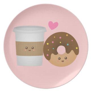 Niedlicher Kaffee und Krapfen in der Liebe, Melaminteller
