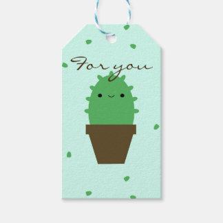 Niedlicher Kaktus kawaii Pflanzen-Geschenkumbau Geschenkanhänger