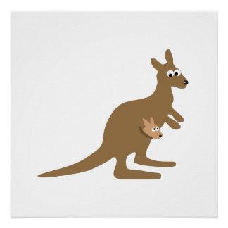 Niedlicher Känguru und Joey Poster