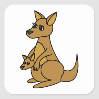 Niedlicher Känguru und Joey Quadrat-Aufkleber