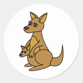 Niedlicher Känguru und Joey Runder Aufkleber