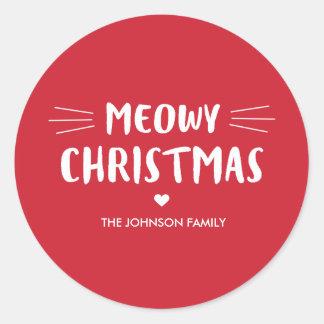 Niedlicher Katzen-Feiertag Meowy Weihnachten| Runder Aufkleber