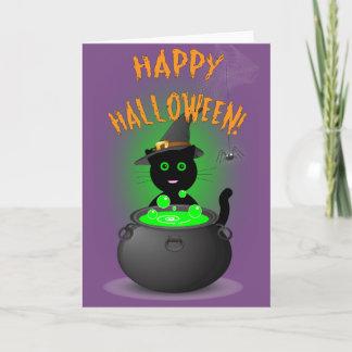 Niedlicher Katzen-Hexe-Halloween-Wagen Karte