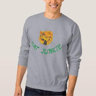 Niedlicher Katzen-Junkie gesticktes Sweatshirt