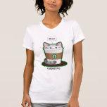 Niedlicher Katzen-Kaffee T Shirts