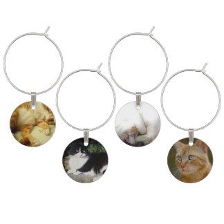 Niedlicher Katzen-Wein-Charme (Set von 4) Glasmarker