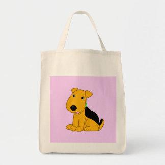 Niedlicher Kawaii Airedale-Terrier-glückliche Tragetasche