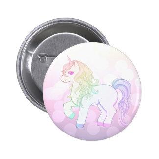 Niedlicher kawaii Regenbogen farbiges Unicornpony Runder Button 5,1 Cm