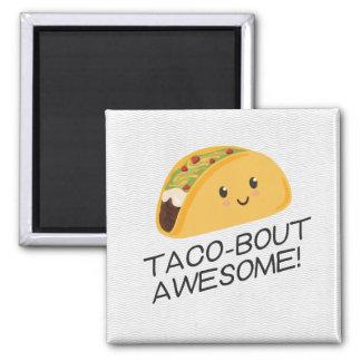 Niedlicher Kawaii Taco Taco-Kampf fantastisch Quadratischer Magnet