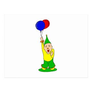 Niedlicher Kinderclown mit Ballonen Postkarte