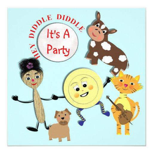 Niedlicher Kinderzimmer-Reim-Themed Party Individuelle Einladung