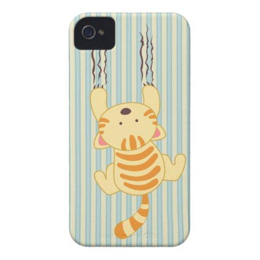 Niedlicher Kitty, der das Wandspaß-BlackBerry iPhone 4 Cover