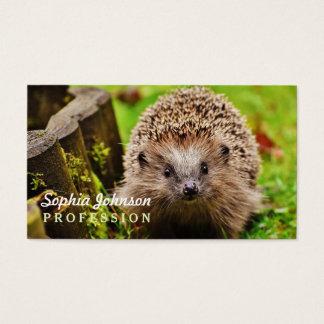 Niedlicher kleiner Igel im Wald Visitenkarte