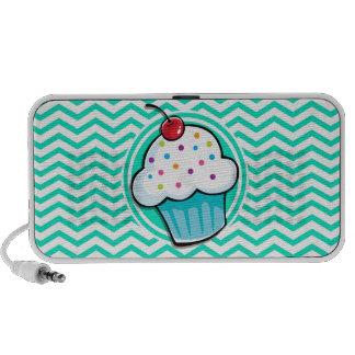 Niedlicher kleiner Kuchen Aqua-grünes Zickzack iPhone Speaker
