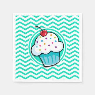 Niedlicher kleiner Kuchen; Aqua-grünes Zickzack Papierserviette