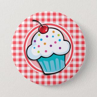 Niedlicher kleiner Kuchen auf rotem und weißem Runder Button 7,6 Cm