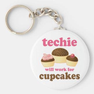 Niedlicher kleiner Kuchen Techie Standard Runder Schlüsselanhänger