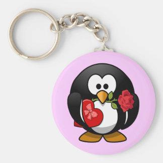 Niedlicher kleiner lebhafter Valentine Penguin Schlüsselband