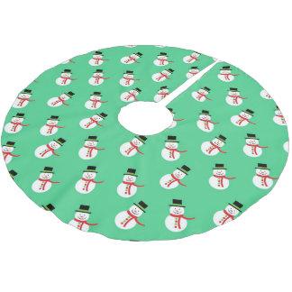 Niedlicher kleiner Snowman Polyester Weihnachtsbaumdecke