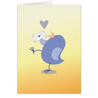 Niedlicher kleiner Tweeter-Vogel mit einem Buchsta Grußkarte