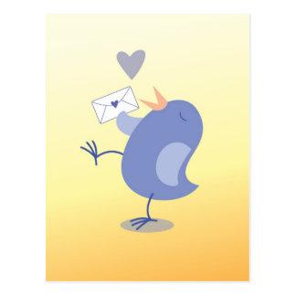 Niedlicher kleiner Tweeter-Vogel mit einem Postkarte