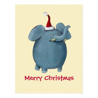 Niedlicher kleiner Weihnachtselefant Postkarte