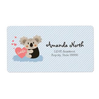 Niedlicher Koala streichelt ID386 Großer Adressaufkleber