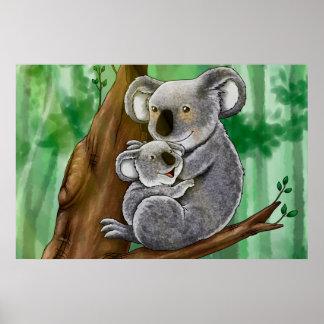 Niedlicher Koala und Baby Poster