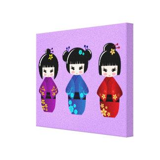 Niedlicher kokeshi Puppen-Cartoon Leinwanddruck