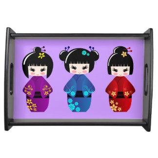 Niedlicher kokeshi Puppen-Cartoon Tablett