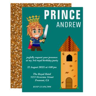 Niedlicher königlicher Baby-Prinz Castle Teal 12,7 X 17,8 Cm Einladungskarte