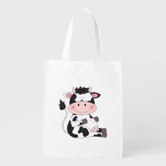Niedlicher Kuh-Cartoon Wiederverwendbare Einkaufstasche