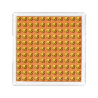 Niedlicher lächelnder Kürbislaterne-Kürbis Acryl Tablett