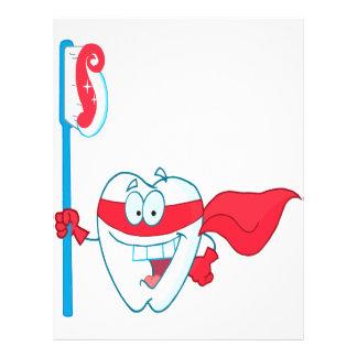 Niedlicher lächelnder Superhero-Zahn mit Zahnbürst Individuelle Flyer