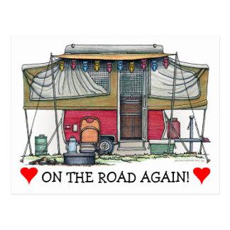 Niedlicher Lagerbewohner-Reise-Anhänger RV Postkarte