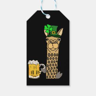 Niedlicher Lama-trinkenden Bier-St Patrick Geschenkanhänger