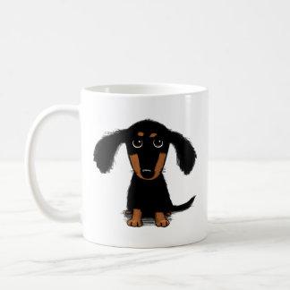 Niedlicher langhaariger Dackel-Welpe Kaffeetasse