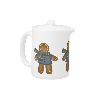 Niedlicher Lebkuchen-Mann-Tee-Topf