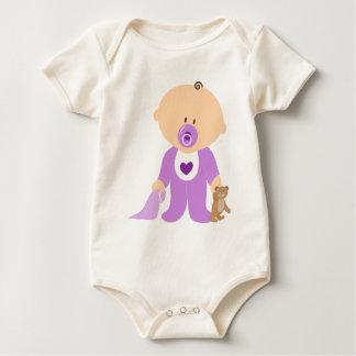 Niedlicher lila Baby-u. Teddy-Bär Baby Strampler