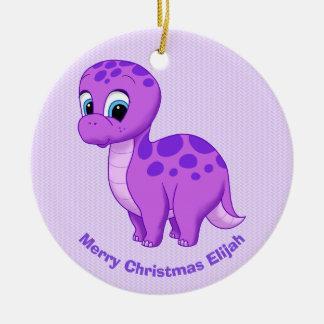 Niedlicher lila Babybrontosaurus-Dinosaurier Keramik Ornament